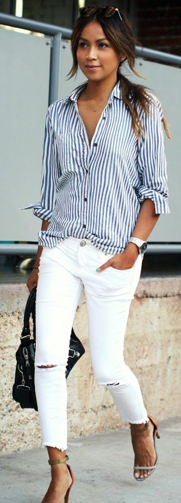 Stlye Me Hip: Striped with White Ripped Jeans and Ankle Strap He...