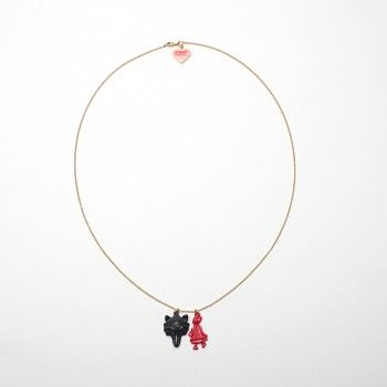 """N2 SHADOW OF LITTLE RED RIDING HOOD AND WOLF NECKLACE  """"All the better to eat you with, my child!"""".  The story goes on for our Little Red Riding Hood and her grandmother who cross the path of a wicked wolf."""