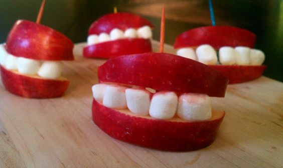 "Apple Smiles - ""I really did it in 5 minutes! so easy and they look great at the Halloween table!"" @allthecooks #recipe"