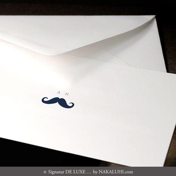 20er Kartenset - personalisiert - Mann - Monogramm - Design Schnurrbart - A6 und DIN Lang Klappkarten - ab 49,00 Euro  www.nakaluhi.com #schnurrbart #karten #mann #design #initialen