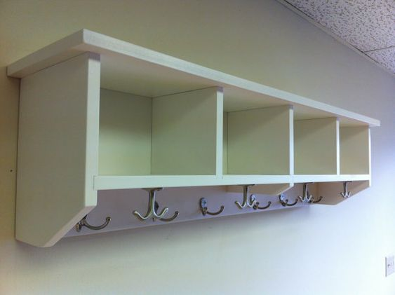 Foyer Cubby Storage : Entryway shelf with cubbies and coat hooks handmade solid