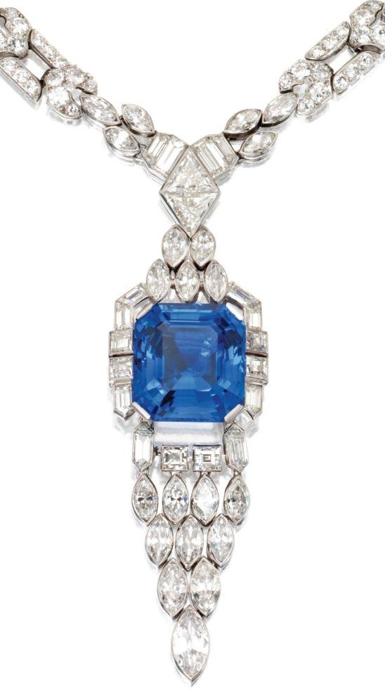 Pendant detail: Art Deco sapphire and diamond sautoir by Lacloche Frères, circa 1925.