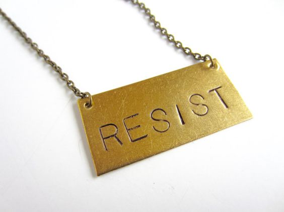 Resist Necklace Womens March Jewelry Antiqued Brass Necklace Nasty Woman Jewelry Human Rights Civil Rights Resist Jewelry  Raw brass rectangle hand stamped in large letters: RESIST. Antiqued brass chain and lobster clasp closure. You have the right to choose your favorite length