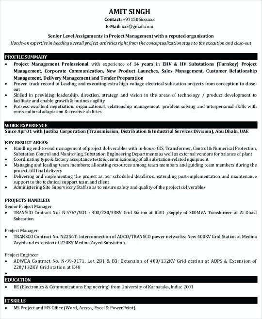 Project Manager resume template Sample , Professional Manager - resumes for project managers