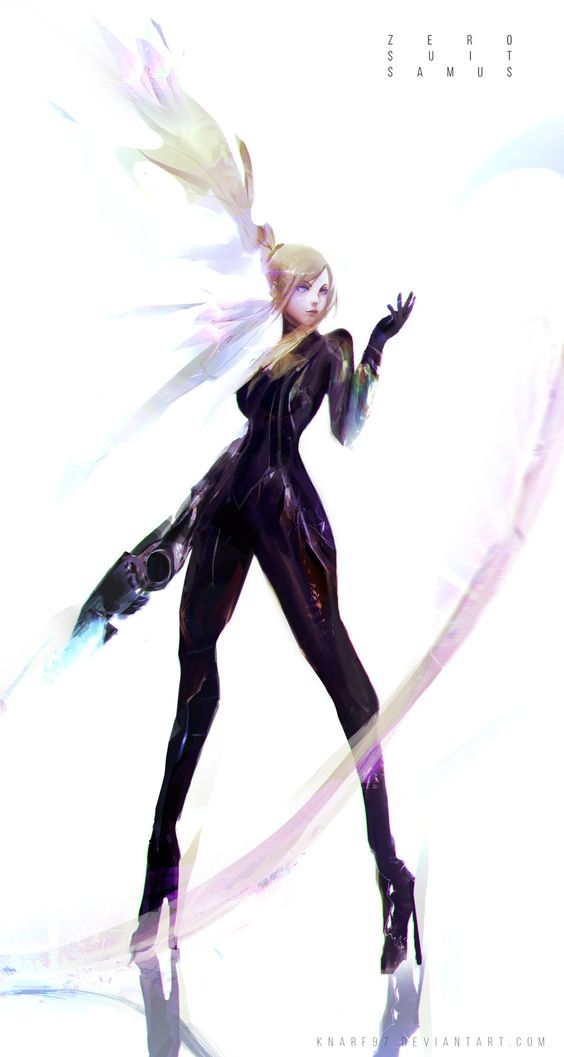 Zero Suit Samus, Frank Liu on ArtStation at https://www.artstation.com/artwork/n20Z1