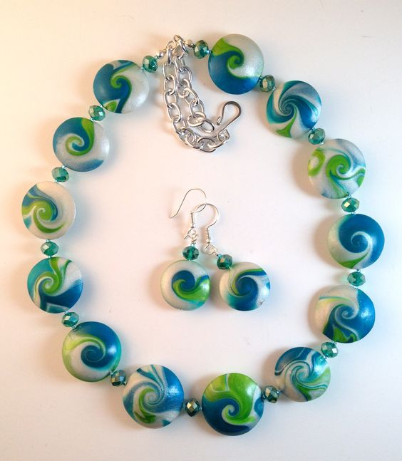 Polymer clay 'Century Bead' lentil necklace and earrings set in pearl, teal and lime. TTEDesigns.com