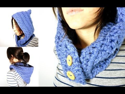 Cómo tejer un cuello - capucha de lana a ganchillo / crochet