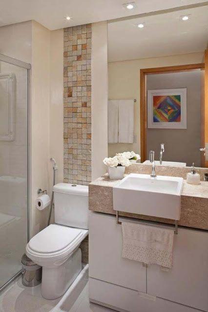 banheiropequenomoderno16  banheiros  Pinterest  Banheiros pequenos, Peq -> Banheiro Pequeno Com Pastilhas Claras