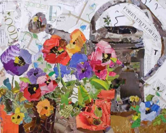 Bloomsday Pansies collage, 16x20 torn paper collage on stretched canvas. By Kay Smith: