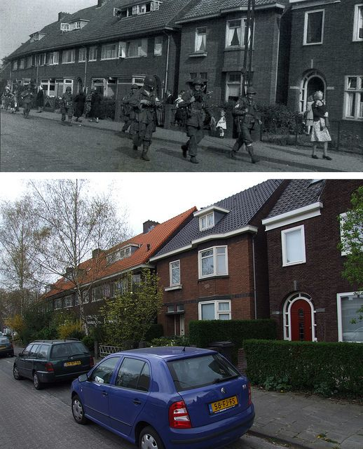 Ghosts of War - Allied soldiers walking towards center of Eindhoven, September 18th 1944, Frankrijkstraat Eindhoven - Then & Now by juffrouwjo, via Flickr
