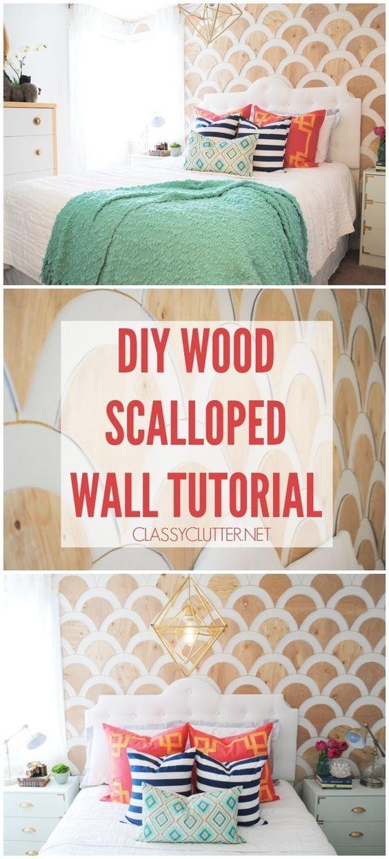 Un marcador de pintura dorado y formas de madera contrachapada para hacer una fácil (y sofisticada) pared escalopada.   29 ideas para decorar paredes que solamente parecen caras