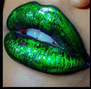 Green glow stick inspired lips