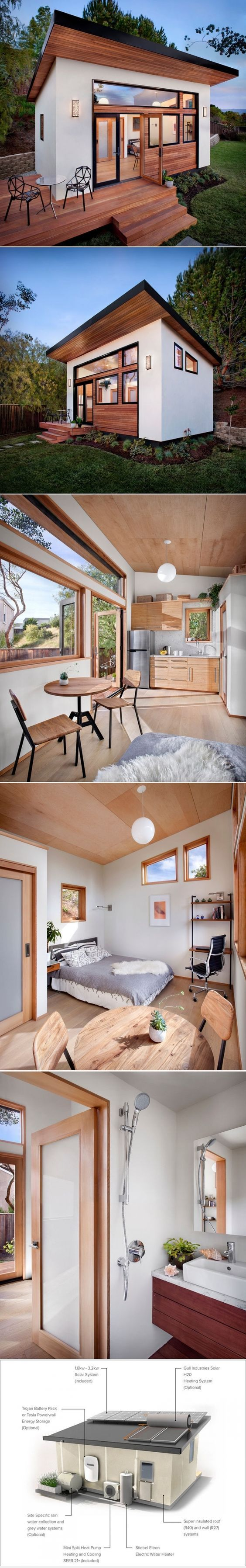 This small backyard guest house is big on ideas for compact living…: