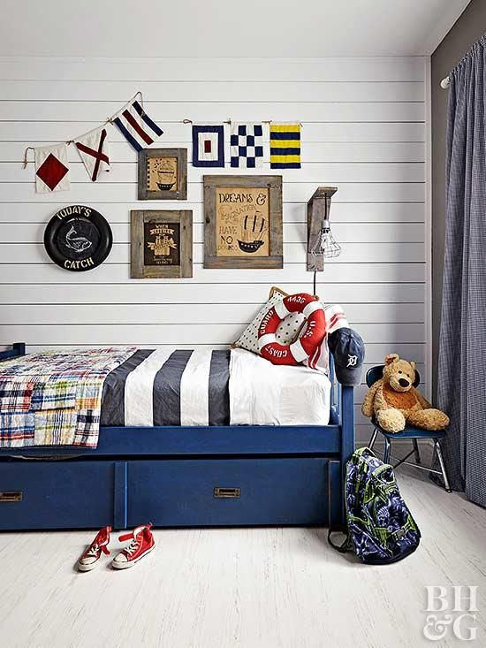 Give A Boy S Room A Nautical Vibe With A Navy Boy S Bedroom Set Plank Walls And Ship Inspir Boys Bedroom Themes Toddler Boys Bedroom Themes Boys Bedroom Sets Mens nautical bedroom ideas