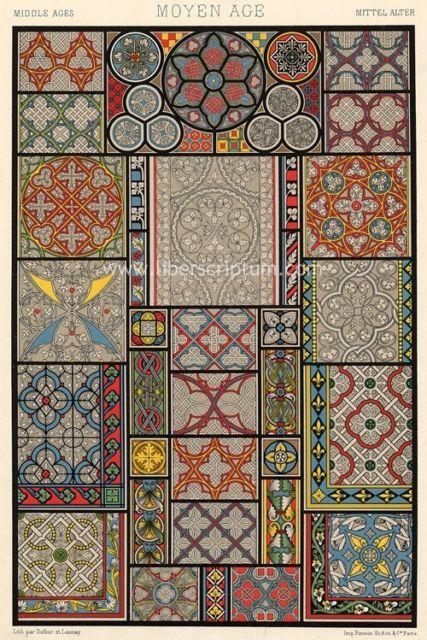 Architecture Motif Décoratif Rosaces Vitrail Moyen AGE Déco Lithographie 19E | eBay