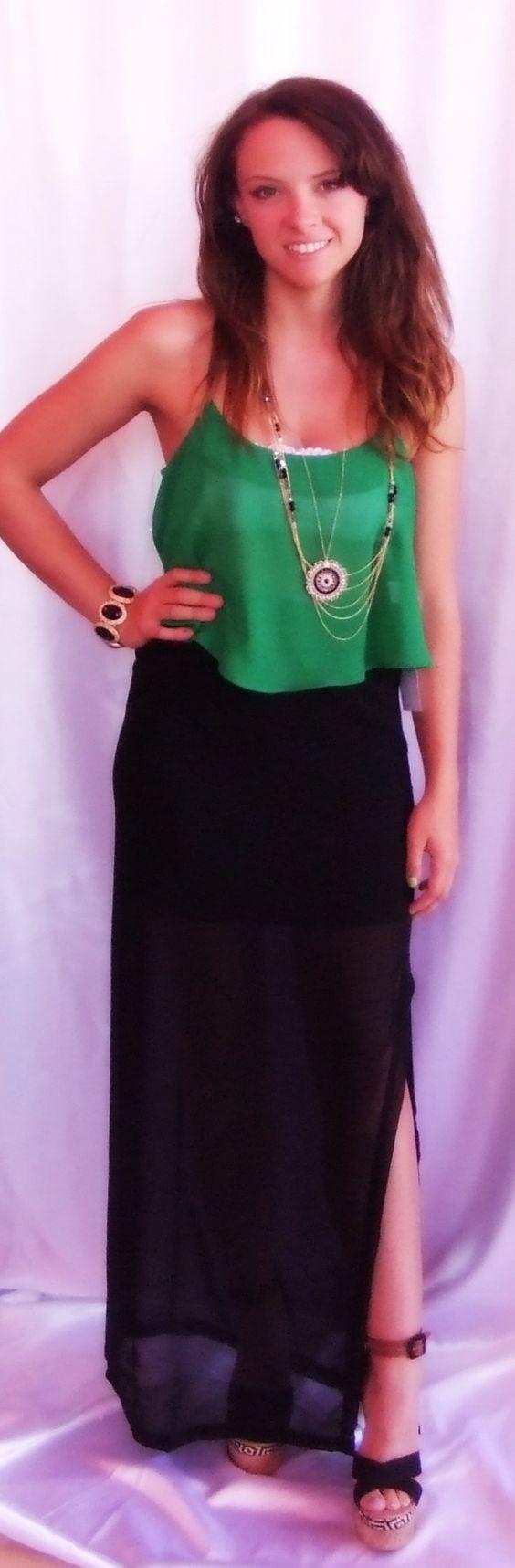 - Green Scalloped Top: $16.99  - Black Maxi Skirt: $34.99  (Sizes: S-L)  - Necklaces: $24.99 & $32.99  - Bracelet: $24.99  - Wedges: $49.99