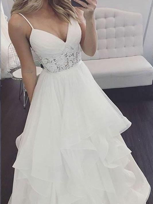 Beach Wedding Dresses Romantic Spaghetti Straps Simple Lace A Line Bridal Gown Jkw311 Boho Bridal Gowns A Line Wedding Dress Trendy Wedding Dresses,Average Cost Of Wedding Dress Alterations 2020