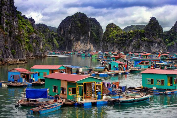 Floating village in Halong Bay near Cat ba Island, Vietnam.