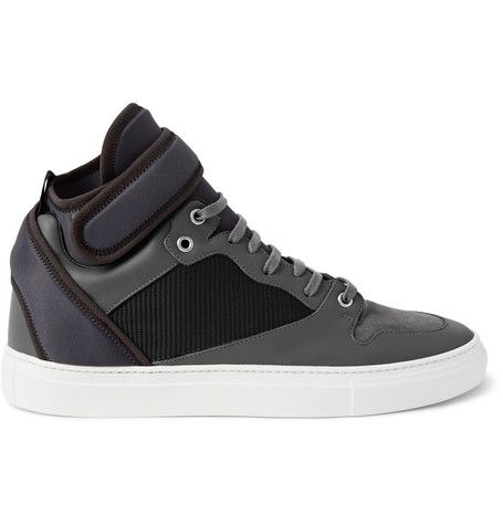 Balenciaga Leather, Suede, Neoprene and Mesh Sneakers | MR PORTER