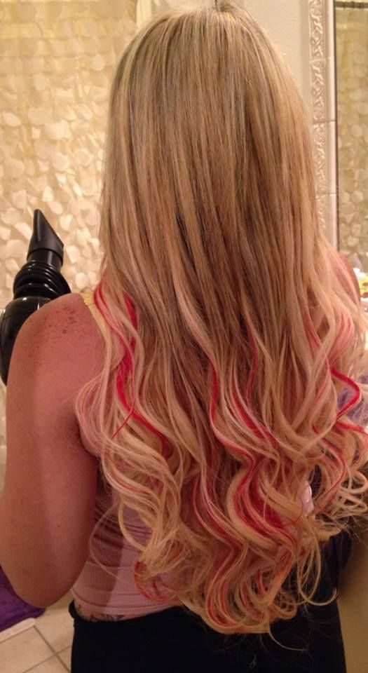 Blonde extensions with red lowlights using socap hair extensions blonde extensions with red lowlights using socap hair extensions e geovanni salon pinterest blonde extensions hair extensions and extensions pmusecretfo Images