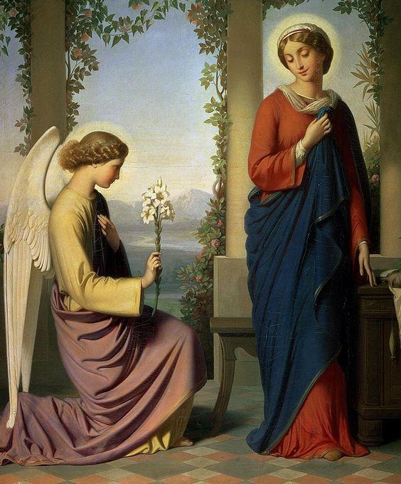 Eugène Emmanuel Amaury Pineux Duval (1808-1885)  —  The Angelic Salutation  (746x900):