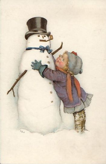 vintage art -  love for the snowman