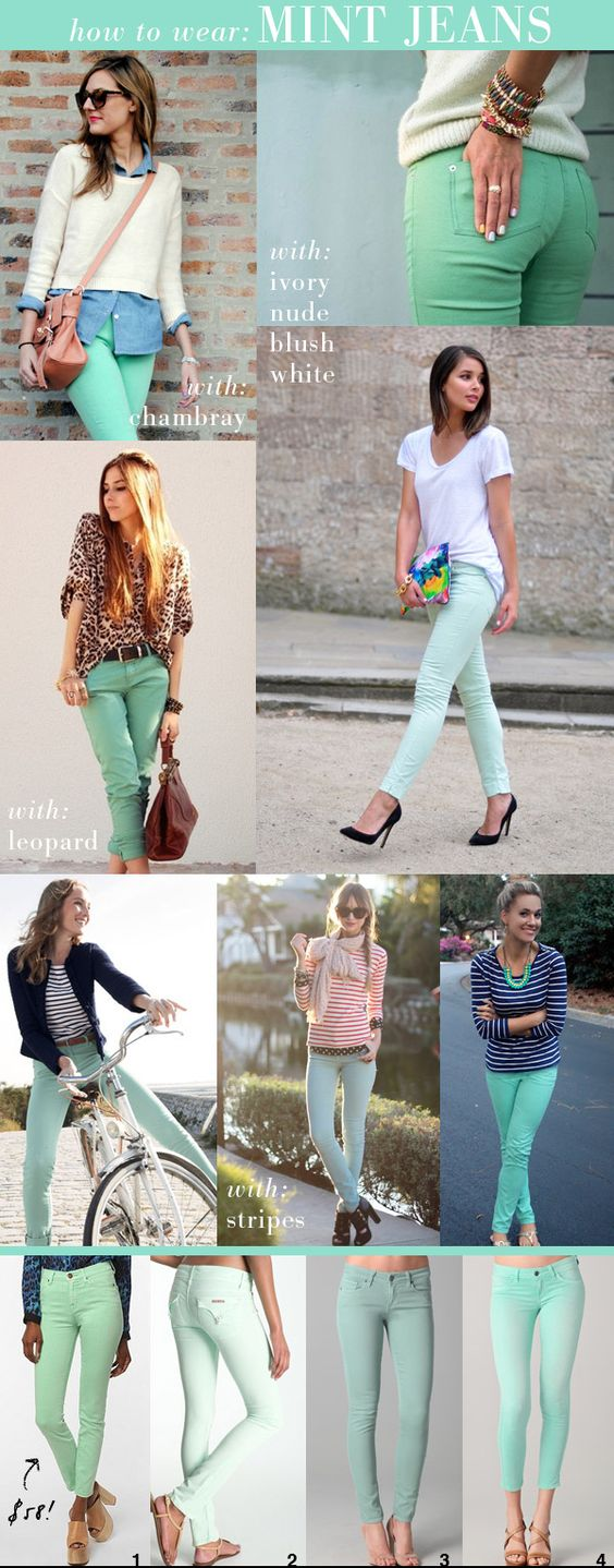 small shop: how to wear mint jeans--you could easily trade out a darker shade for winter.