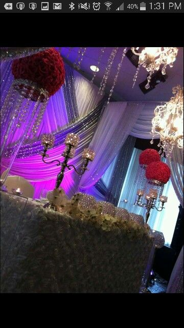 Bride and groom area great idea for draping