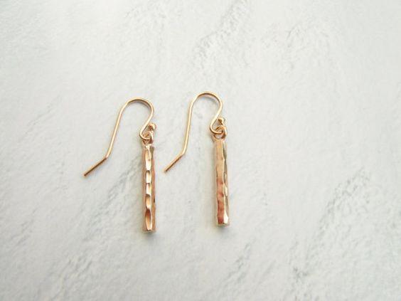 Rose Gold Hammered Bar Earrings