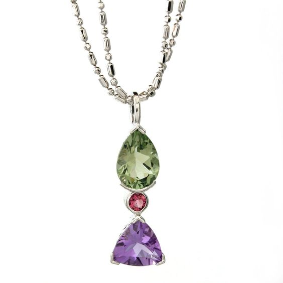 Green Amethyst, Amethyst and Pink Tourmaline Pendant in Sterling Silver - Sam's Club