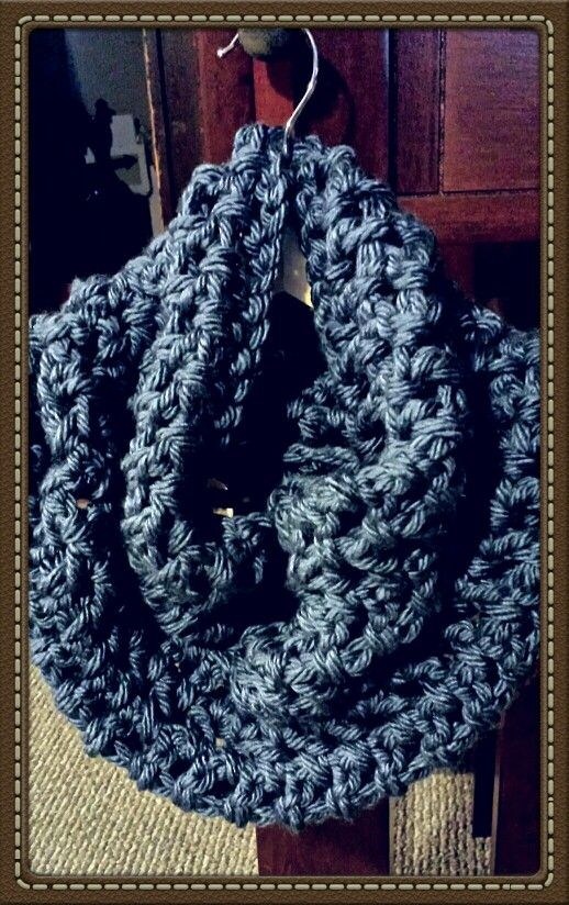 Blue Crochet Cowel Handcrafted