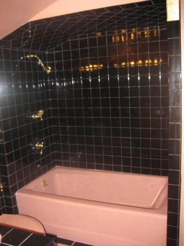 Pink Bathtub Black Shower Bathroom Tile Brass Fixtures Phoenix Arizona Home  House Photo