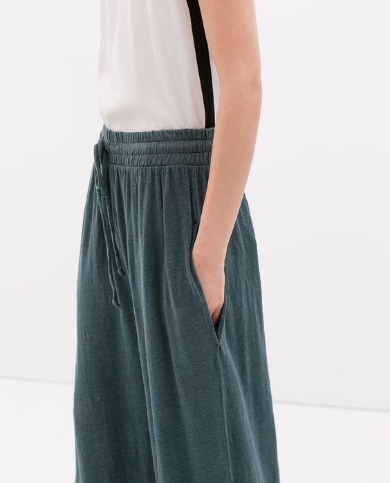 zara femme pantalon large lin pantalons pinterest zara jambes et jambes larges. Black Bedroom Furniture Sets. Home Design Ideas