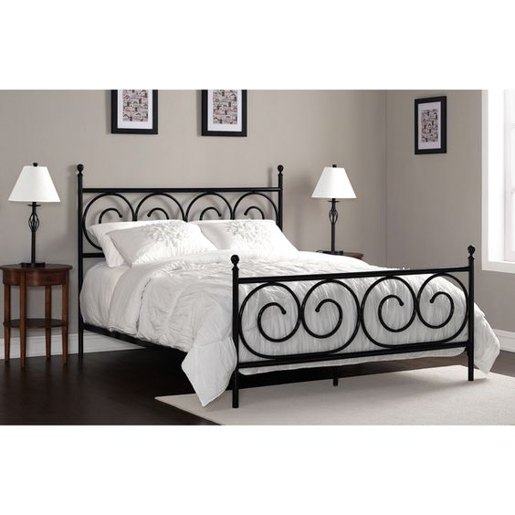 Charmers Moustache Black Queen Bed by I Love Living