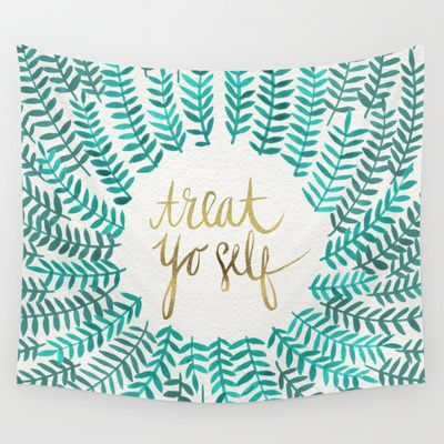 Treat+Yo+Self+–+Gold+&+Turquoise+Wall+Tapestry+by+Cat+Coquillette+-+$39.00