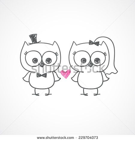 two cute owls, wedding invitation, vector hand drawn illustration