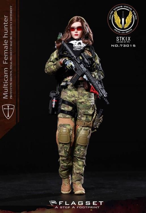 Multicam Female Head Sculpt 1//6 Scale Toy Female Soldier