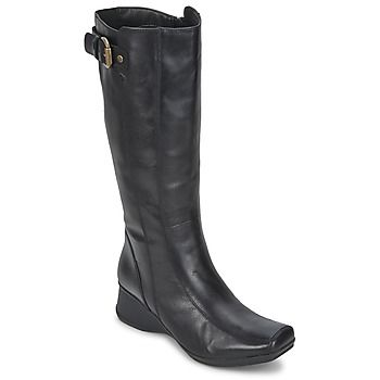 Fasionable smooth leather #womenlongboot of clarks- LISBON SONG black on discounted rate at Spartoo.co.uk