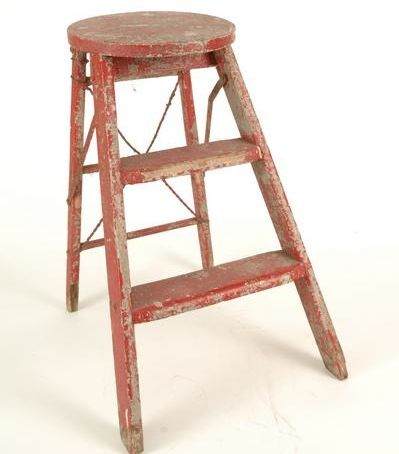i like the idea of a tiered end table with a ladder construction and round top. Madera Red Ladder from found rentals