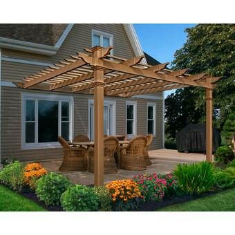 New England Arbors Elysium 12 Ft W X 12 Ft D Vinyl Pergola Reviews Wayfair In 2020 Outdoor Pergola Backyard Patio Designs Patio Stones