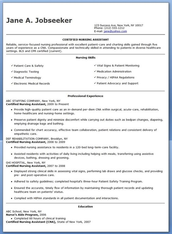 nurse resume example Nursing School Pinterest Resume - resume for cna