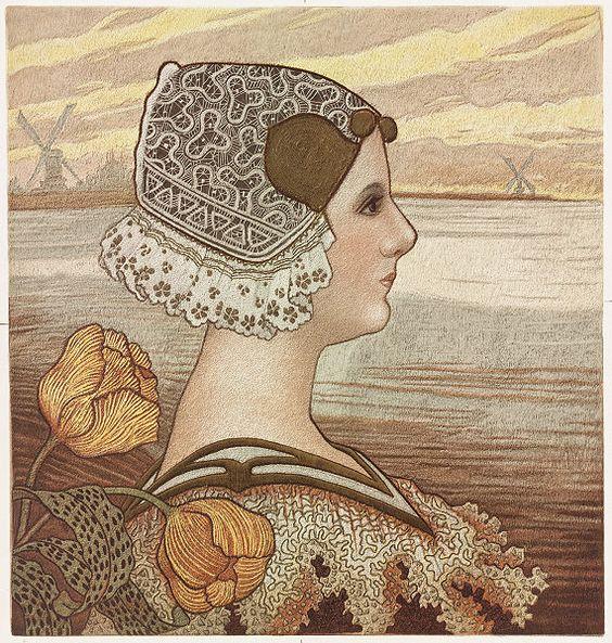 Dame allemande avec tulipes (via : wikipedia):