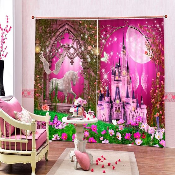 Dreamy Unicorn and Castle Printing Christmas Theme 3D Curtain