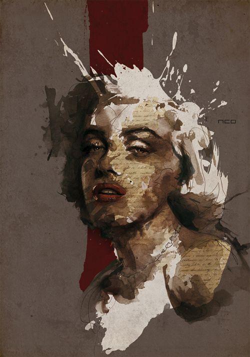 Grunge marilyn monroe artworks illustrations By: neo-innov