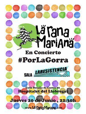 Volvemos a Barcelona con nuestro concierto #PorLaGorra. Estaremos el 20 de junio a partir de las 22h en la Sala La Resistencia (Hospitalet de Llobregat). Entrada gratuita, nosotros tocamos, tú lo bailas, nosotros pasamos la gorra y tú pagas lo que quieras... te lo vas a perder?  besos de rana para tod@s!