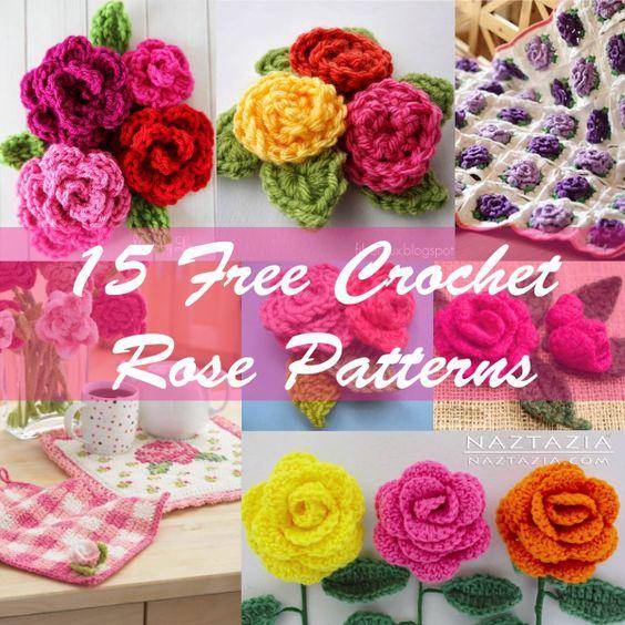 15 free crochet rose patterns ༺✿ƬⱤღ http://www.pinterest.com ...