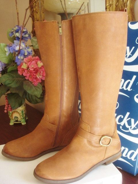 Lucky Brand Boots Vintage Distressed Cognac by GraceandPlenty
