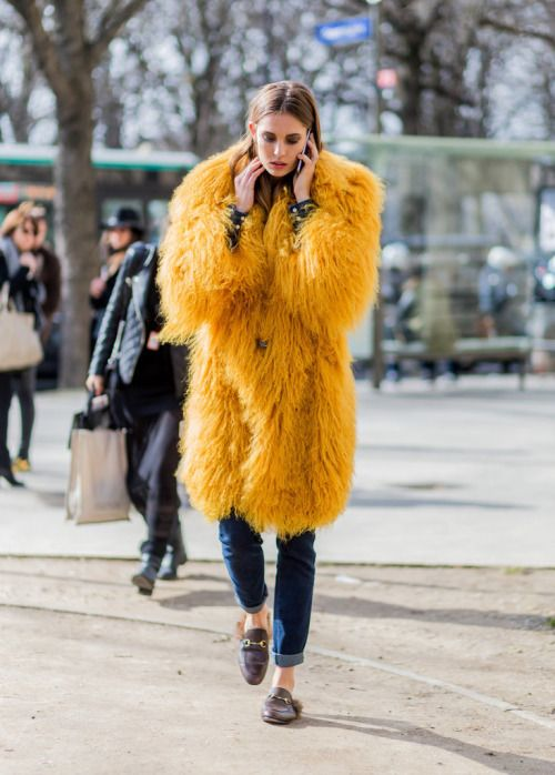 Nadja Bender Model off duty street style pfw PFW 2016 fw 2016 bold colours fur coat: