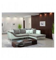 Canap d 39 angle en simili cuir et tissu gris et blanc trendy aux formes l - Canape cuir blanc et gris ...