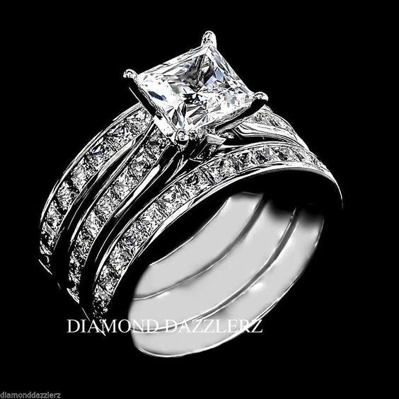 Wedding Rings Princess Cut Set